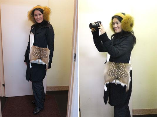 鹿革バッグファッション