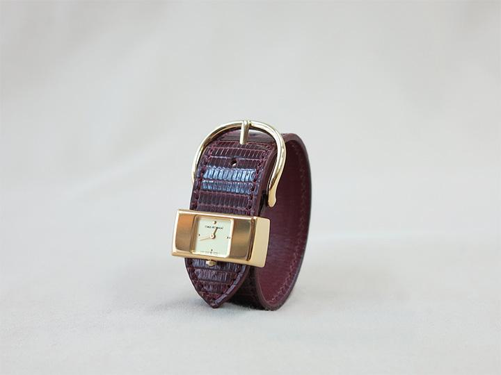 ワイン色のリザード革で作った時計ベルト